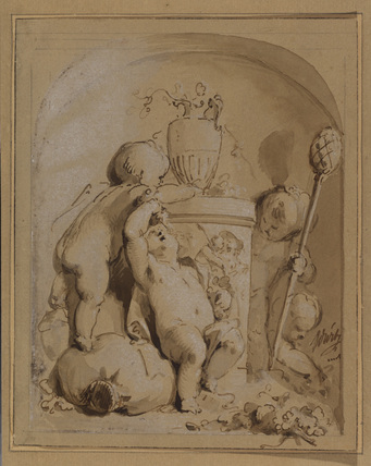 Feigned relief of cupids with an urn