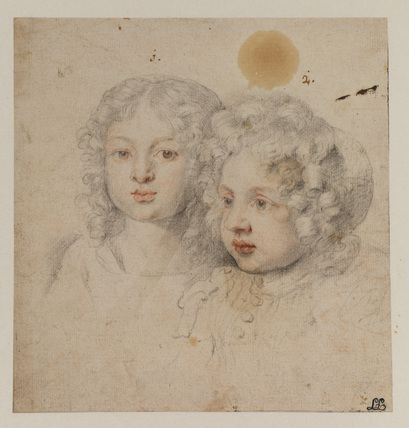 Portrait heads of a girl and a boy