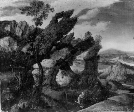 Landscape with Saint Onuphrius (?) praying