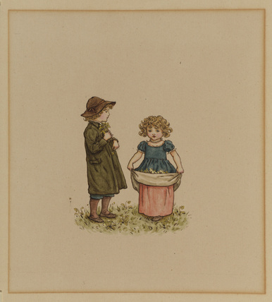 Two children gathering flowers - boy to the left, holding a bunch of flowers, and a girl, right, with flowers in her apron