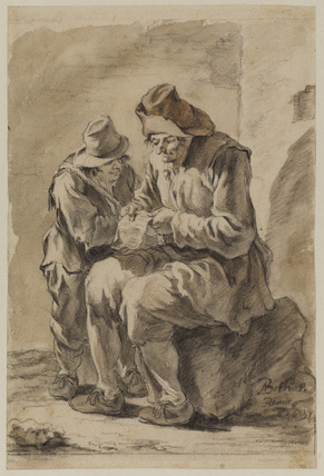Two peasants, one seated reading a letter, the other looking on