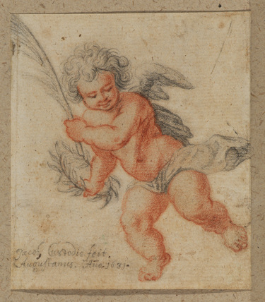 Flying putto holding a palm and a laurel crown