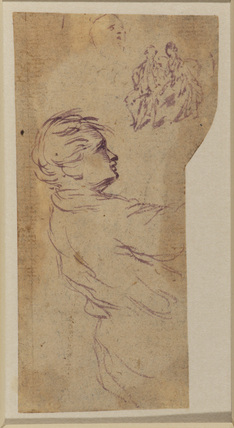 Studies of a male figure, a man and a woman seated, and a head