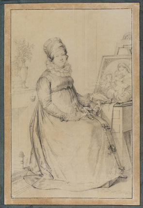 Portrait of a woman artist, seated by Raphael's 'Madonna della Sedia'