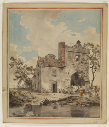 Irish landscape with a house and figures