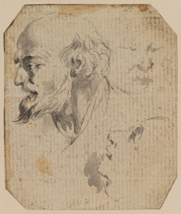 Head of a bearded man, and two other slight studies of heads