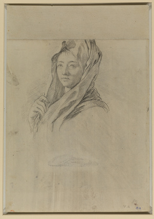 Study for the head of a young woman wearing a shawl (recto)