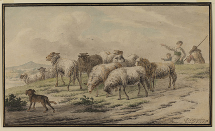 Landscape with sheep on the brow of a hill