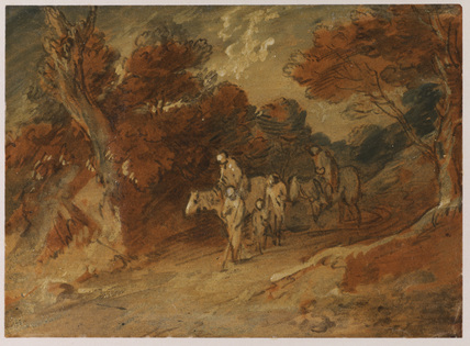 Road through a wood, with figures on horseback and foot