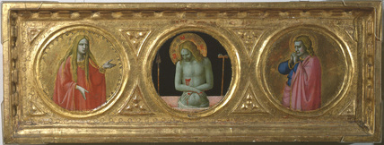 'Imago Pietatis' flanked by the Magdalene and Saint John (centre panel)