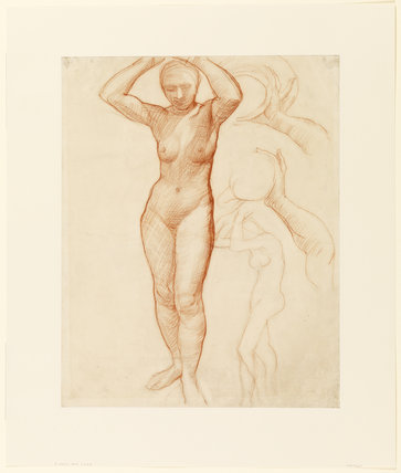 Study of a nude female figure (recto)