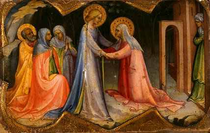 Two predalla panels - a. visitation; b. adoration of the Magi