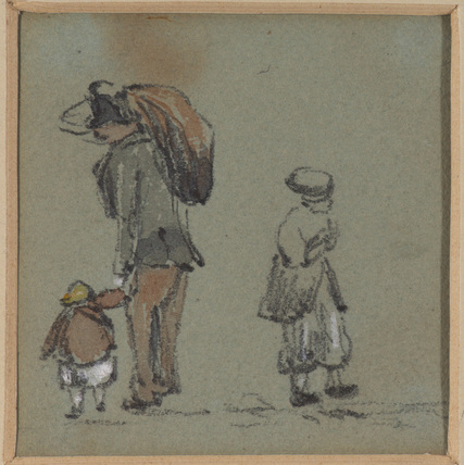 Man with sack, child and third figure