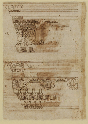 Study of two entablatures (verso)