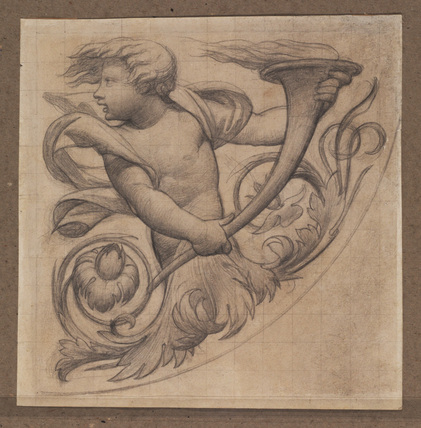 Ornamental motif with putto and foliage