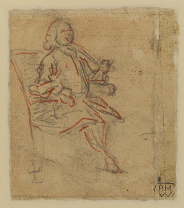 Man seated in chair, turned slightly to right, smoking a pipe (verso)