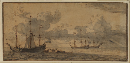 Seascape with three sailing boats