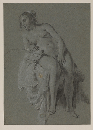 Seated female nude, in drapery