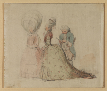 Caricatures of two ladies in high coiffeurs, and a man