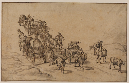 Peasants with cattle and waggons on a road