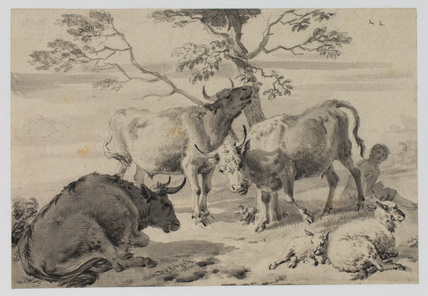 Cattle and shepherd in a landscape