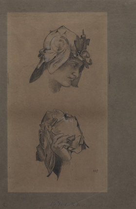 Study of a helmeted head, and of a hand holding a helmet