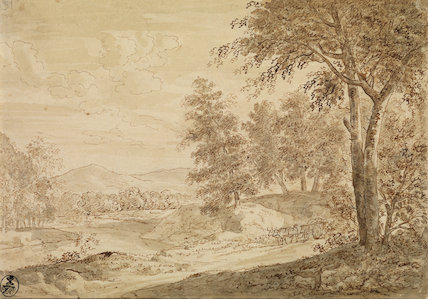 Wooded landscape with stream and oxcart on road