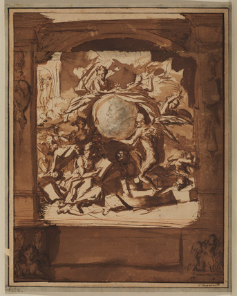 Allegorical figures supporting a medallion portrait of a man