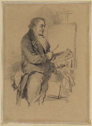 Portrait of J.M.W. Turner, three-quarter length, standing in front of an easel, palette and brush in hand