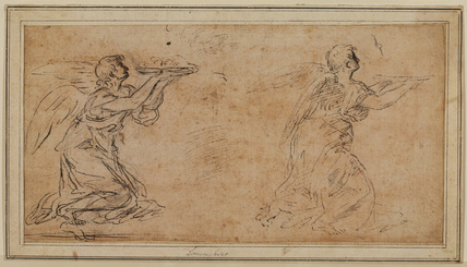 Two studies of an angel holding a platter