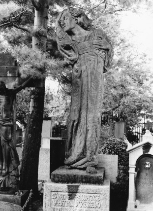 Monument to Vaclav Benes Trebisky with figure of sorrow
