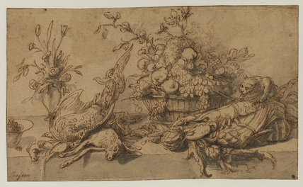 Still-life with dead game, lobster, vegetables and fruit (recto)