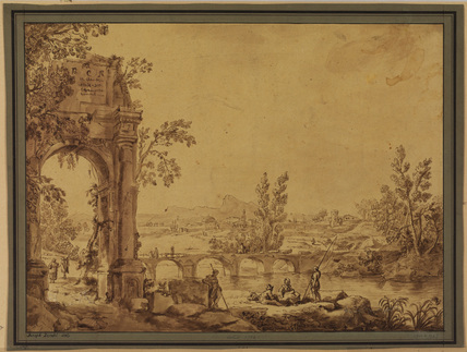 Landscape with figures and a ruined arch