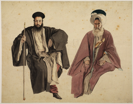 Portrait of two seated Orientals