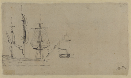 Two sailing vessels at sea (verso)