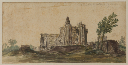 View of the ruins of the abbey at Egmont