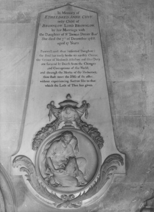 Church of Saint Peter and Saint Paul;Brownlow Chapel;Monument to Etheldred Cust