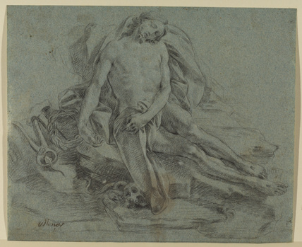 Dead Christ, with the tools of the Passion