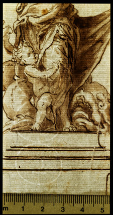 Allegorical group on a pedestal (detail showing the watermark)