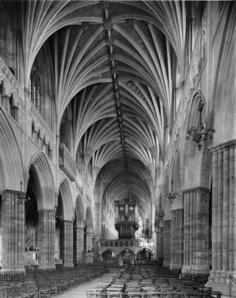 The nave, facing east. Exeter Cathedral, Devon