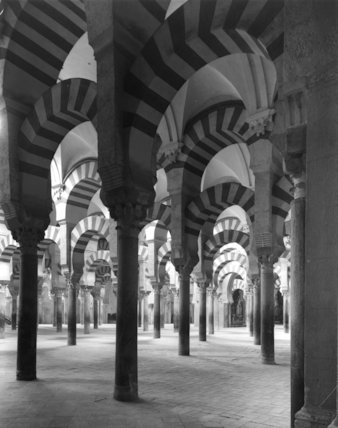 'Moorish arches in the cathedral, the former mosque. Cordova, Spain.'