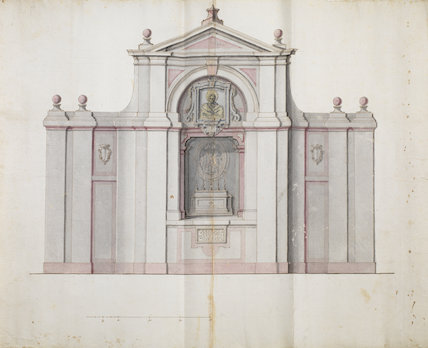 Front elevation of a freestanding religious structure, a second view