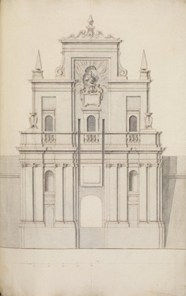 Front elevation of Notre Dame de la Grace gate in the Cottonera fortifications, Malta