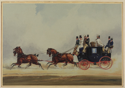 Passenger coach-and-four, travelling at a fast trot