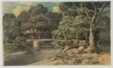 Landscape with stream and footbridge