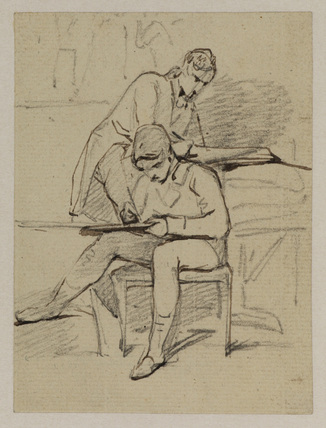 Two young men sketching