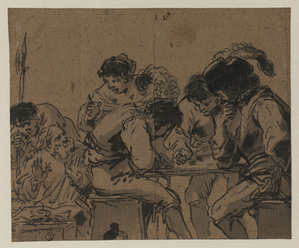 Men playing dice (recto)