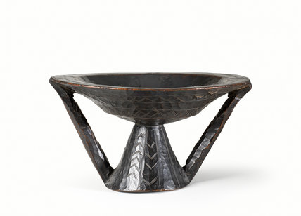 Wooden bowl with conical stand and handle (front)