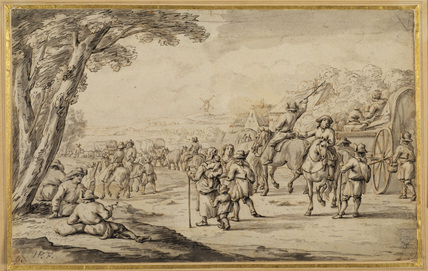Peasants and carts moving along a road