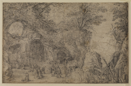 Landscape with a church service in a grotto